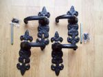 Black Antique Cast Iron Fleur de Lys Fancy Ornate lever Latch lock Handles